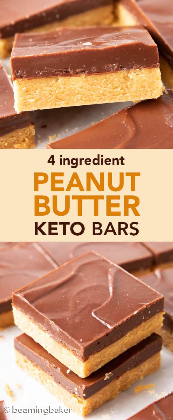 Keto Peanut Butter Bars: only 4 ingredients for soft 'n dense no bake peanut butter bars topped with a thick layer of chocolate peanut butter. Sink your teeth into the best keto peanut butter chocolate bars! Like PB cups in bar form. #Keto #PeanutButter #LowCarb #Ketogenic #Chocolate | Recipe at BeamingBaker.com