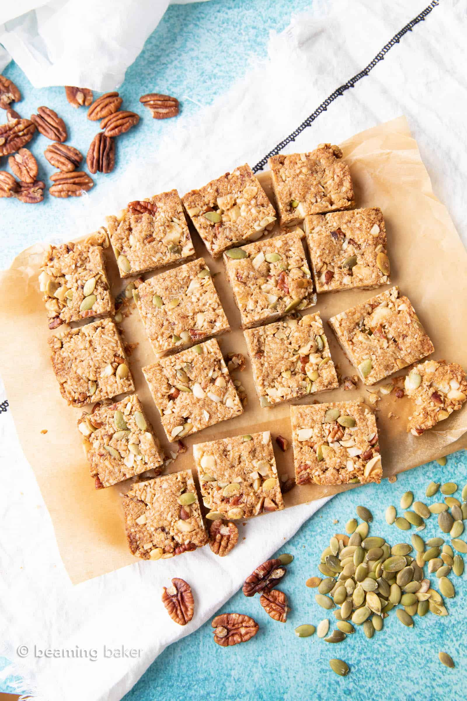 Keto Snack Bars Recipe: sweet & salty keto snack bars that are crispy on the outside, soft on the inside with a crunchy texture. Surprisingly keto & delightfully delicious. #Keto #LowCarb #SnackBars #KetoSnacks | Recipe at BeamingBaker.com