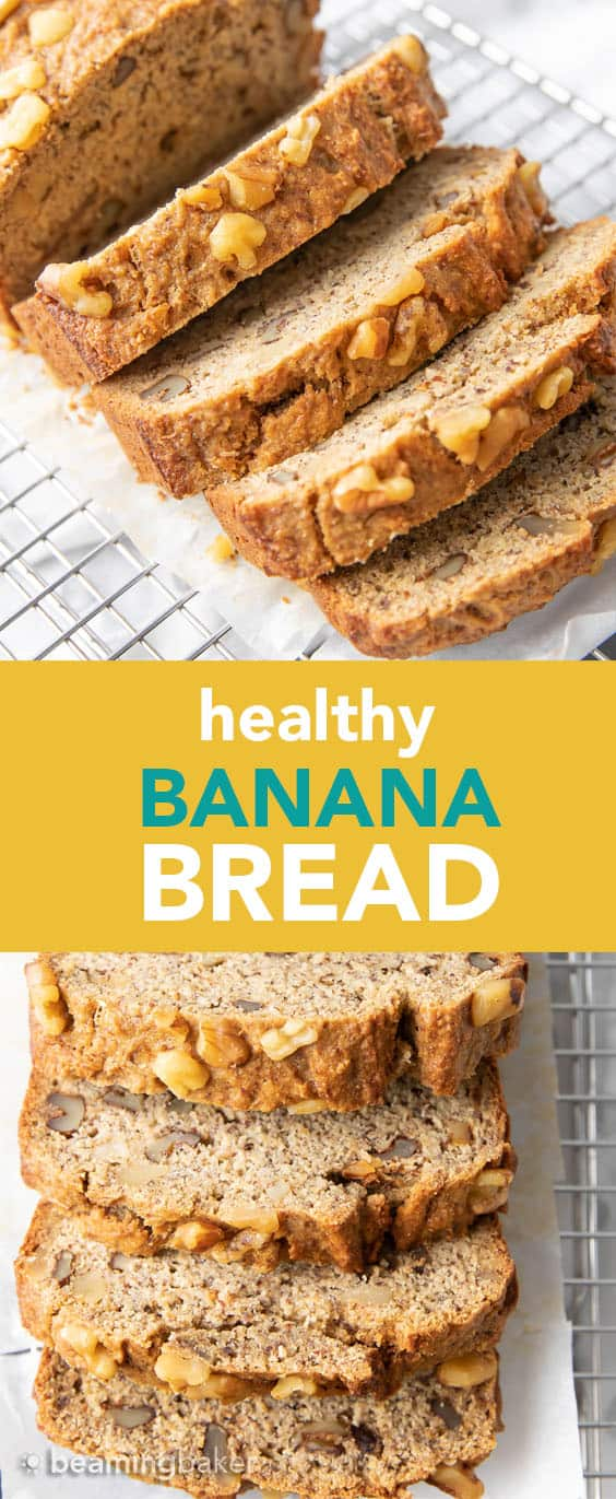 Healthy Banana Bread Recipe: unbelievably delicious banana bread that just so happens to be healthy! Moist 'n rich with cozy banana flavor and incredible texture—you won't be able to resist! #BananaBread #Healthy #Banana | Recipe at BeamingBaker.com