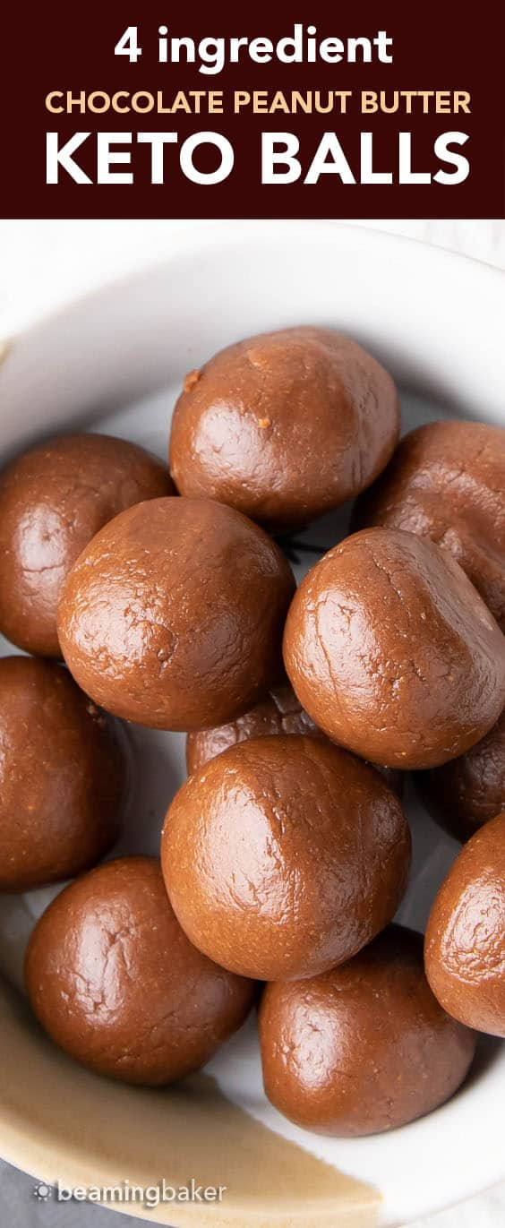 Keto Balls: just 4 ingredients for delicious chocolate keto peanut butter balls. Easy to make, ready in minutes and no bake! #Keto #PeanutButter #KetoBalls #NoBake | Recipe at BeamingBaker.com