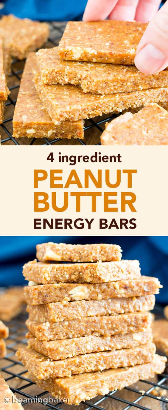 Peanut Butter Energy Bars: this 4 ingredient energy bars recipe is quick 'n easy and yields the best energy bars that taste like peanut butter cookies! #EnergyBars #PeanutButter #NoBake | Recipe at BeamingBaker.com