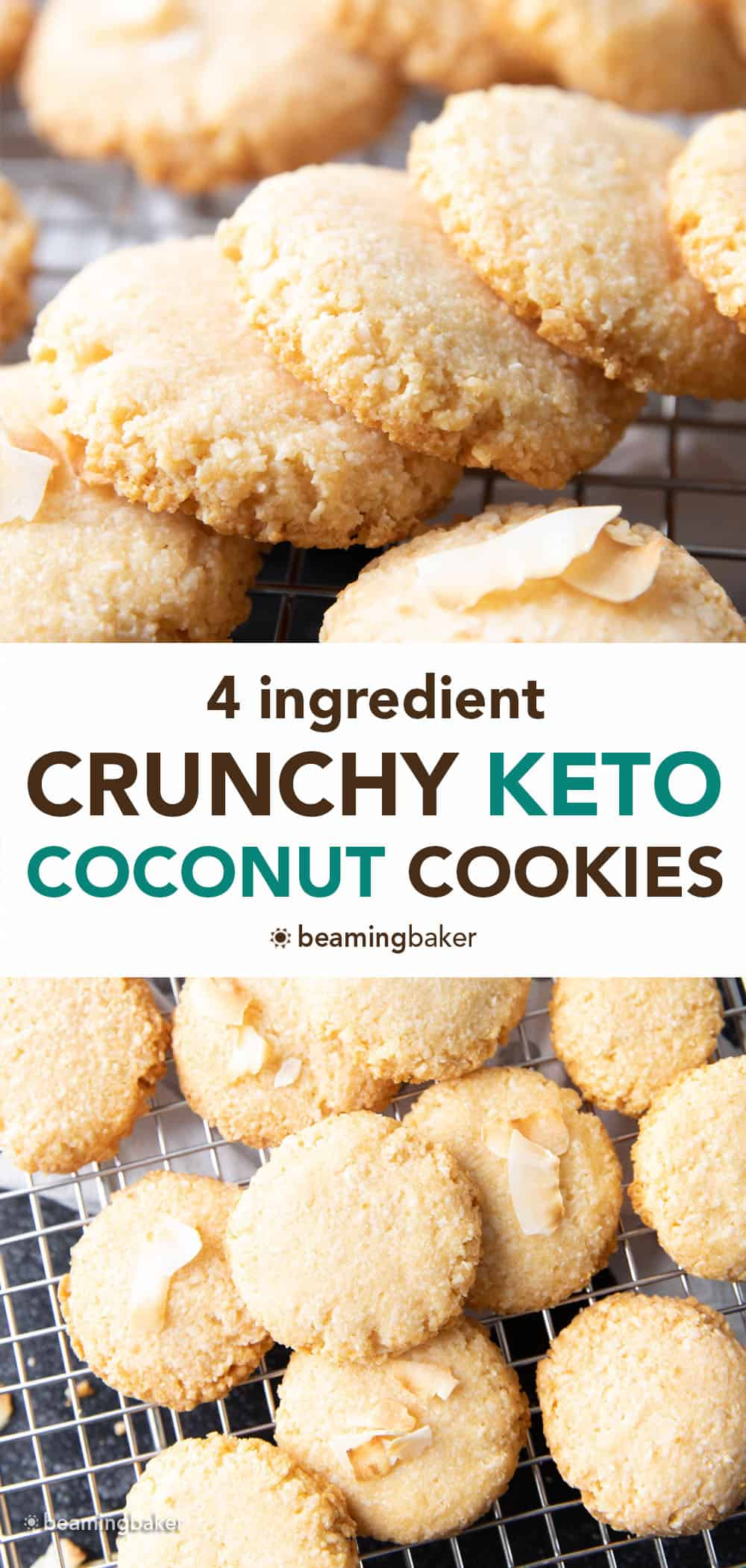 Crunchy Keto Coconut Cookies – 4 ingredient keto coconut cookies that are crunchy & crisp, with delightful coconut flavor. Easy to make, Low Carb! #Keto #KetoCookies #Coconut #LowCarb | Recipe at BeamingBaker.com