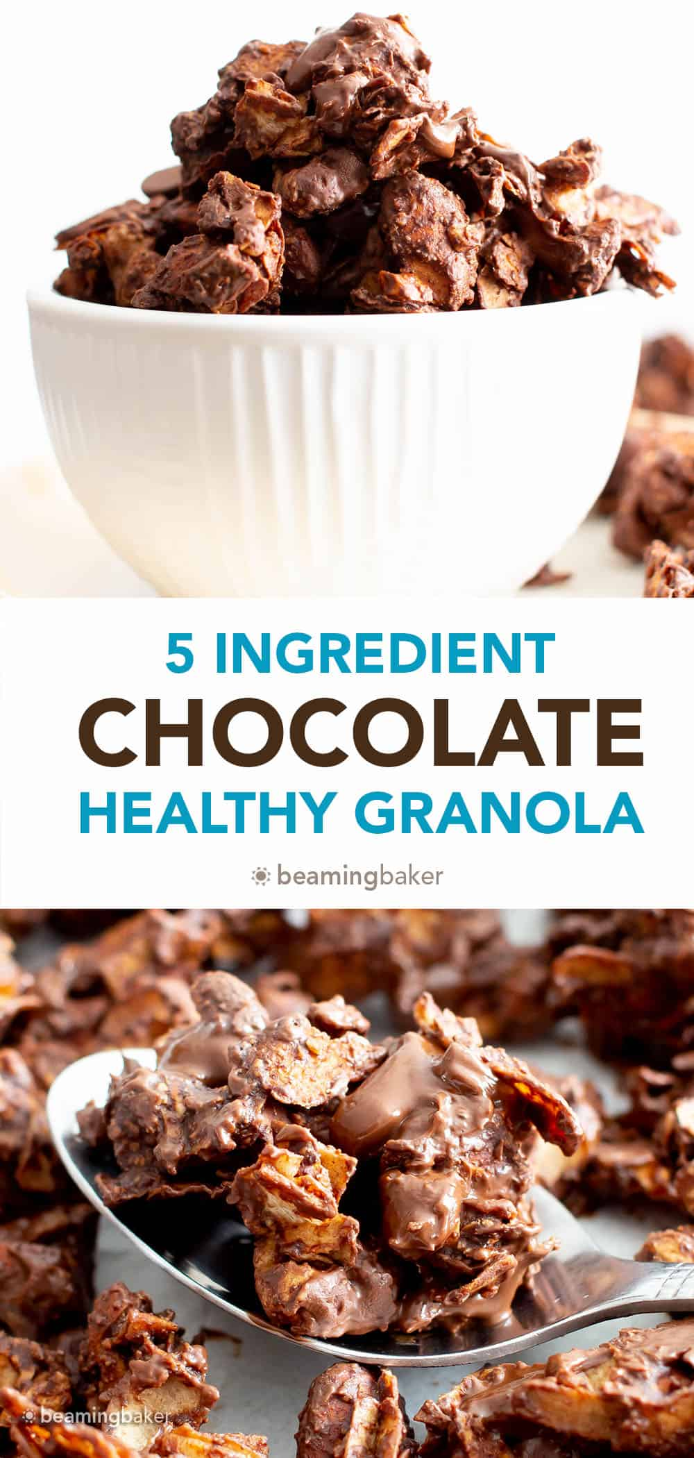 Healthy Chocolate Granola: the tastiest healthy chocolate granola recipe—big, chunky granola clusters covered in rich chocolate goodness. Healthy, whole ingredients. #Chocolate #Granola #Healthy #GranolaRecipe | Recipe at BeamingBaker.com