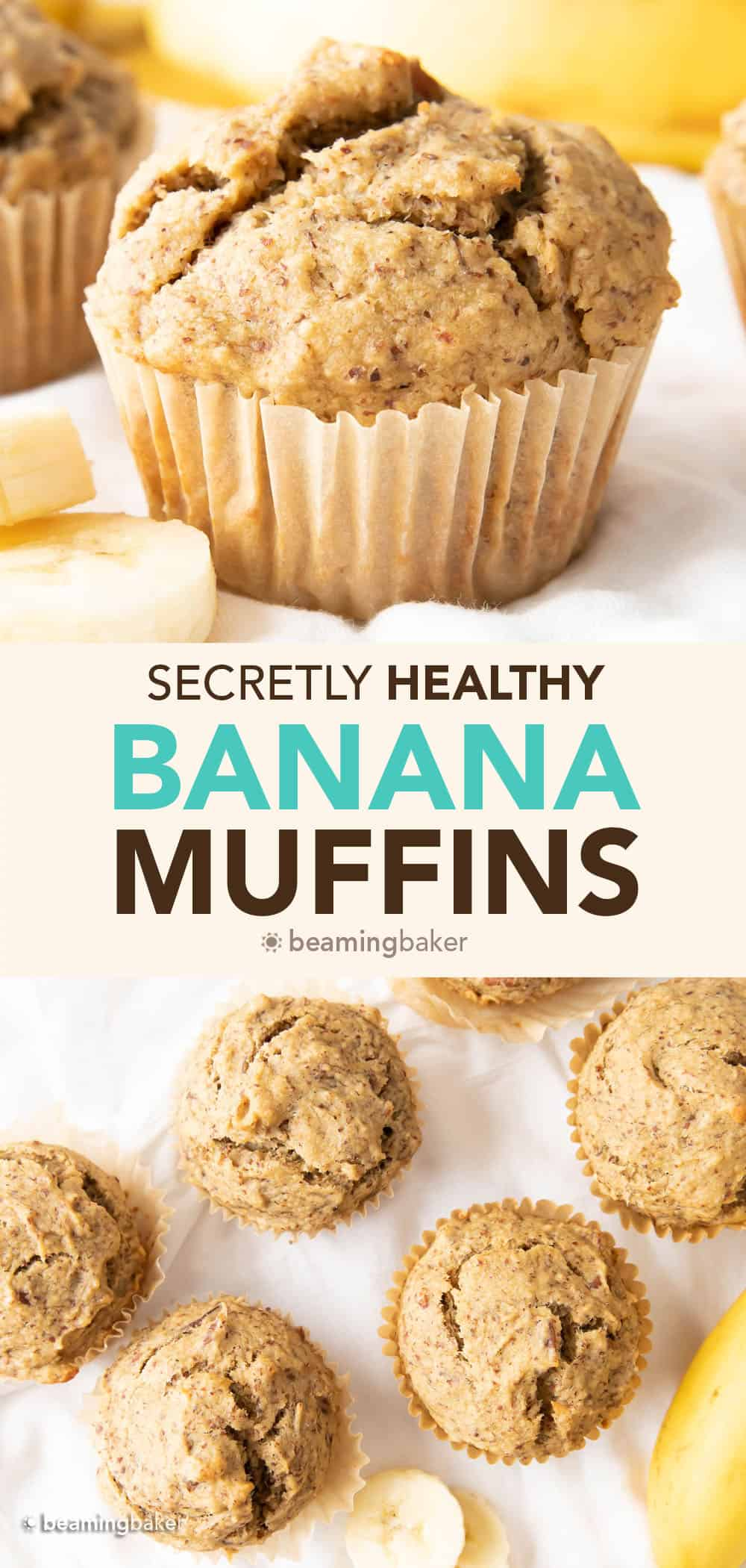 Healthy Banana Muffins Recipe: the BEST healthy banana muffins—secretly healthy, soft 'n dense banana bread-style muffins with lightly sweet, comforting banana flavor. Made with healthy, whole ingredients. #HealthyMuffins #Banana #Muffins #BananaMuffins | Recipe at BeamingBaker.com