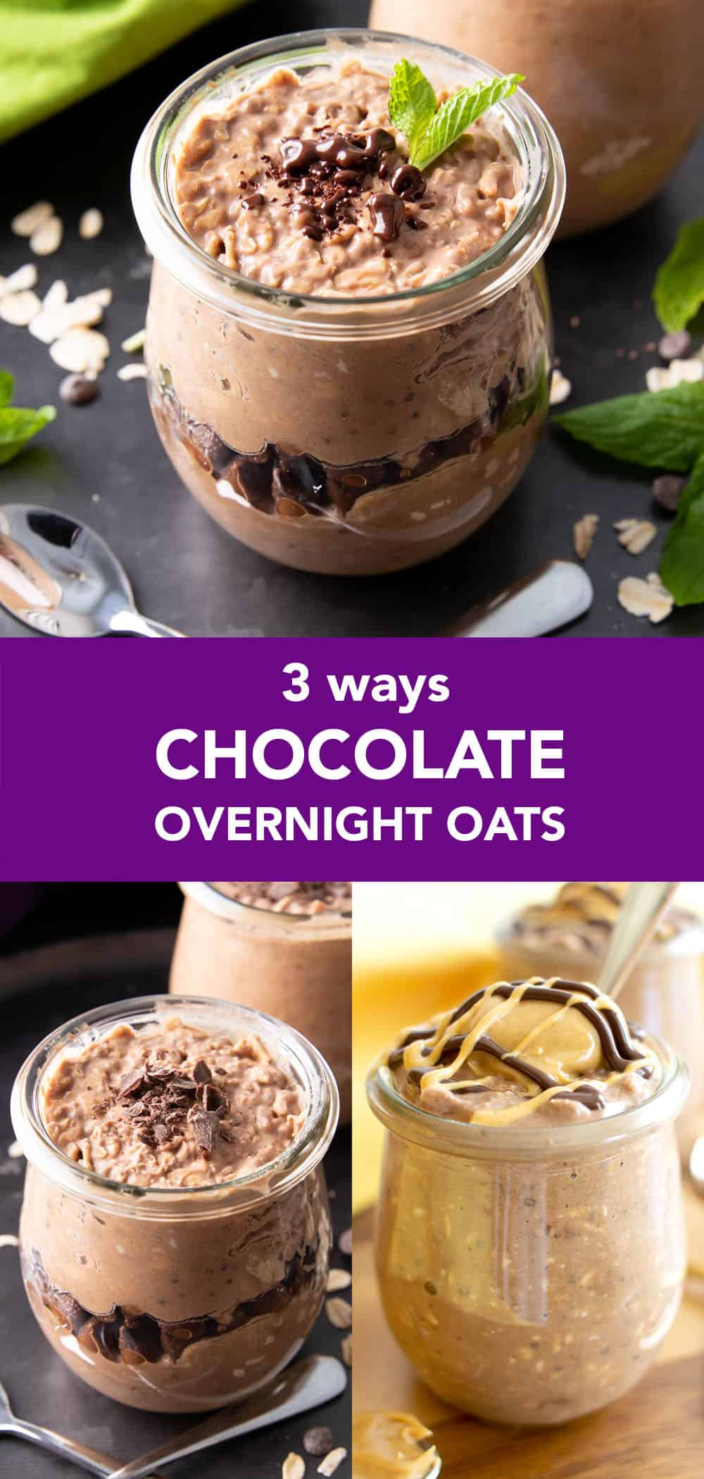 Chocolate Overnight Oats – 3 Ways: 3 delicious 'n easy ways to make chocolate overnight oats! Including: chocolate peanut butter overnight oats, chocolate overnight oats and a secret new recipe! #OvernightOats #Chocolate #OvernightOatmeal #ChocolateOvernightOats | Recipe at BeamingBaker.com