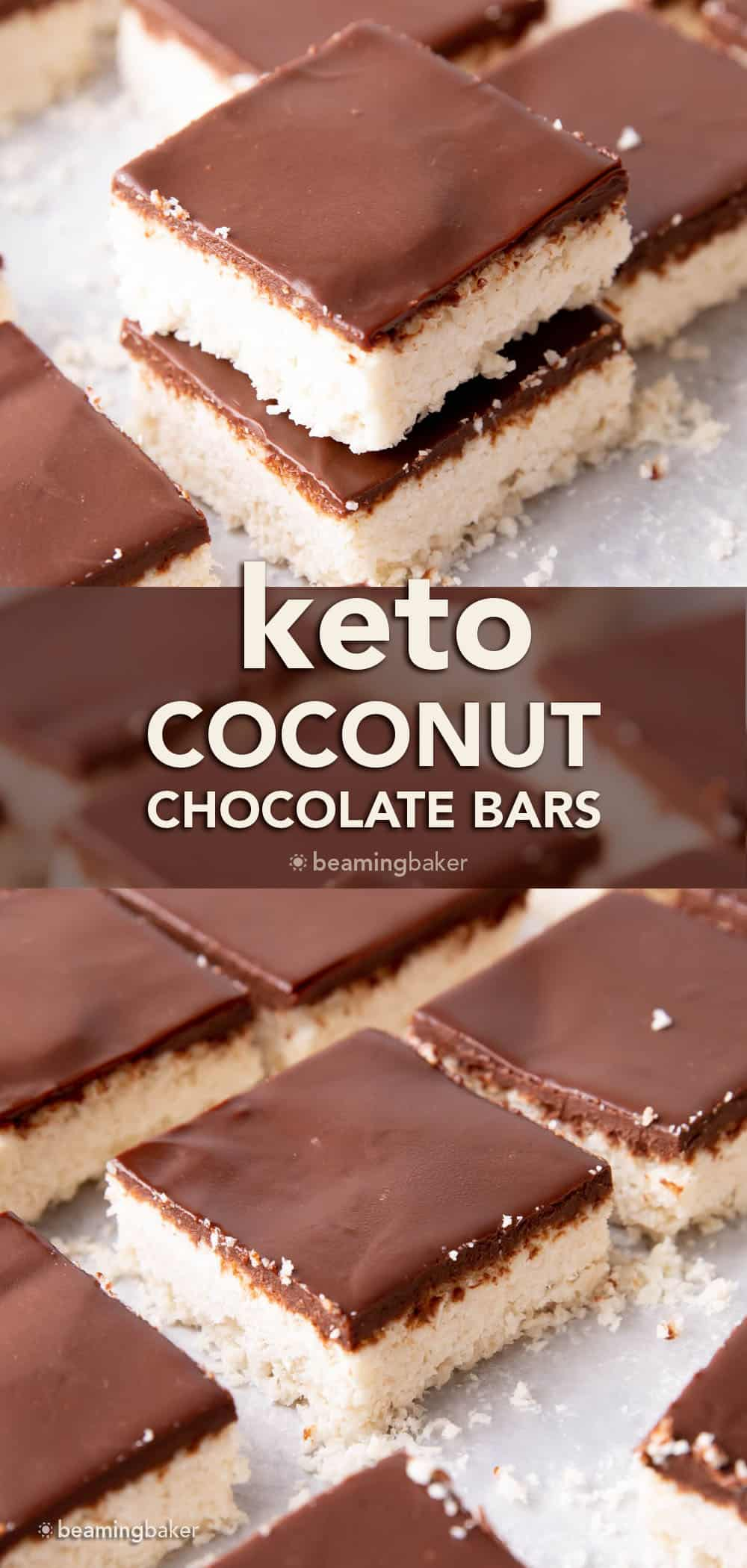 Keto Coconut Chocolate Bars: decadent keto coconut bars topped with a velvety layer of rich dark chocolate. The best keto coconut chocolate bars—Low Carb, super easy to make and mouthwateringly good! #Keto #Coconut #LowCarb #KetoBars | Recipe at BeamingBaker.com