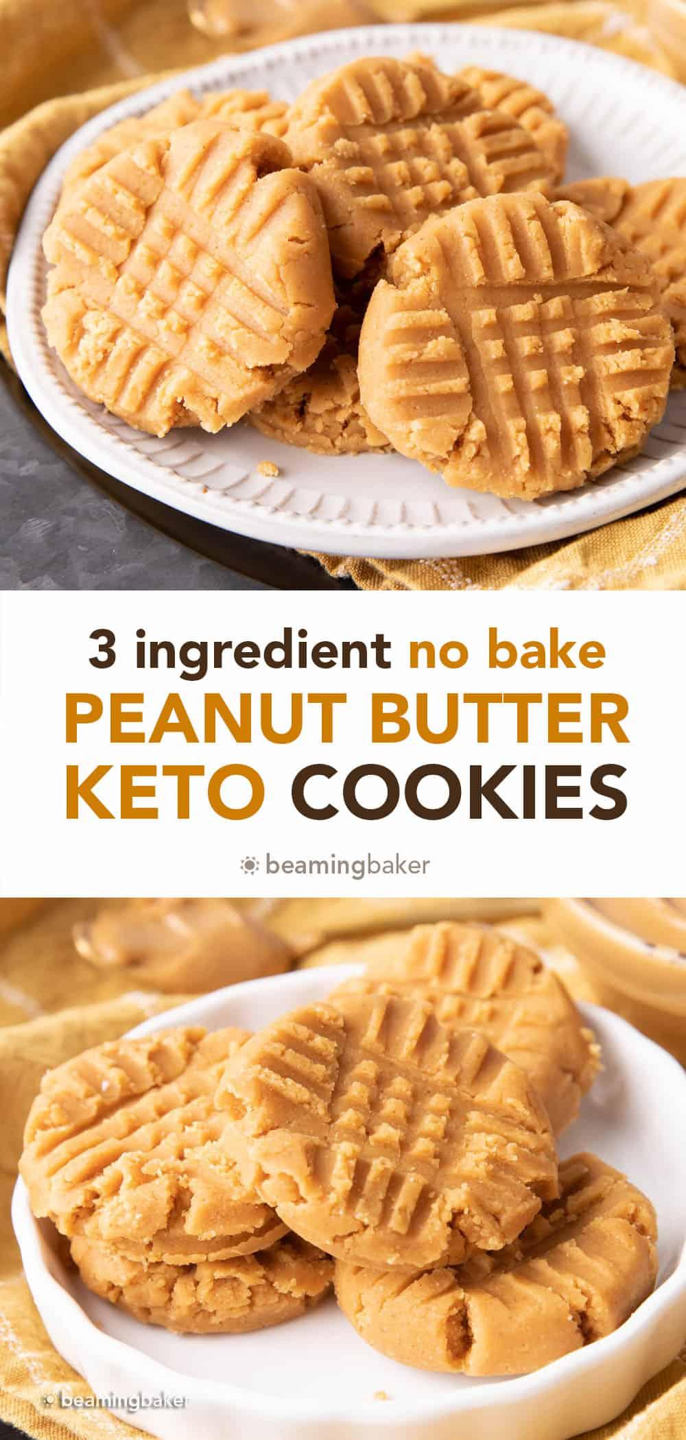 Keto No Bake Cookies: an easy 3 ingredient recipe for keto no bake peanut butter cookies! So easy to make, so delicious to eat. Low Carb. #Keto #NoBake #KetoCookies #PeanutButter | Recipe at BeamingBaker.com