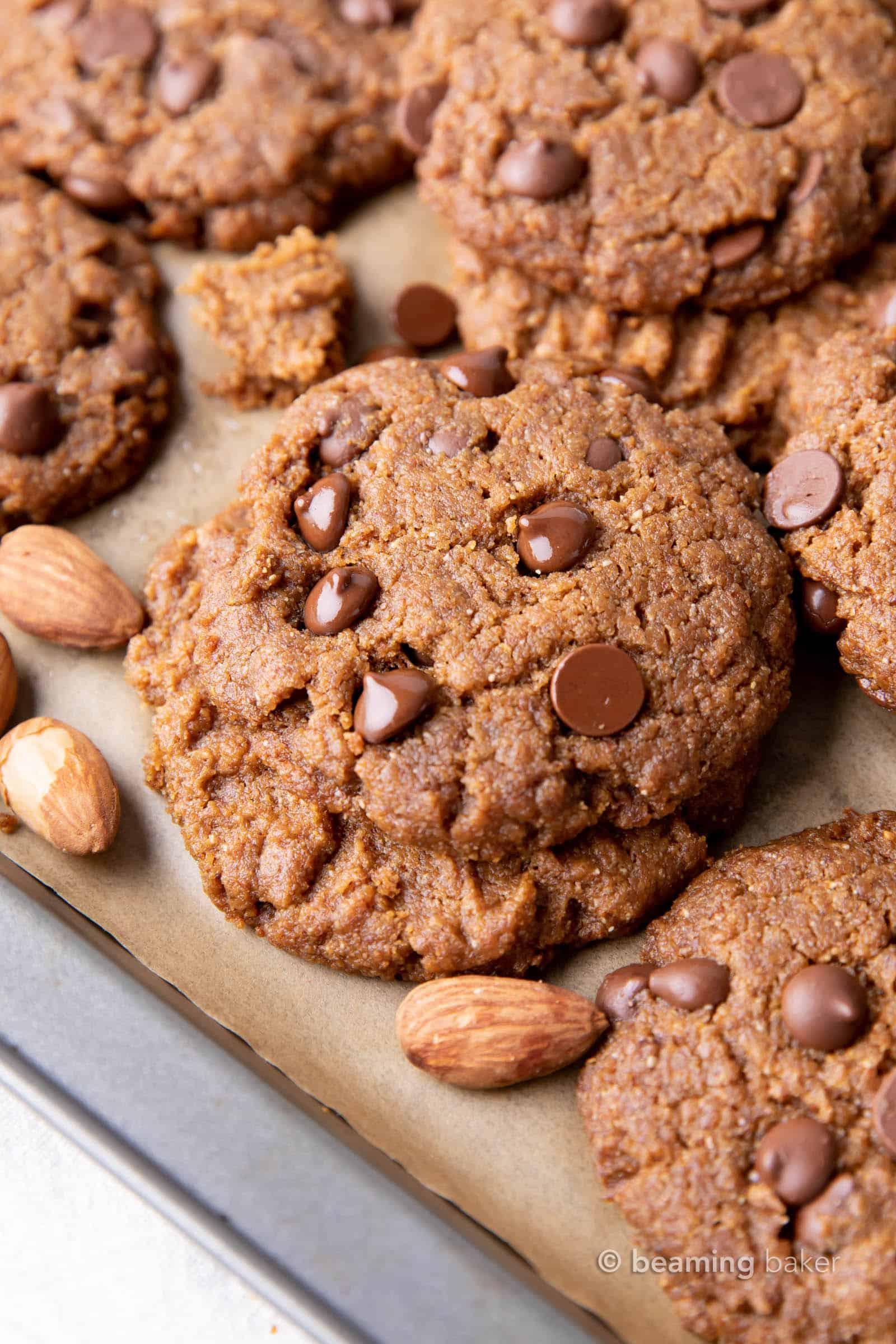 4 Ingredient Flourless Almond Butter Cookies (Gluten Free): unbelievably soft 'n chewy flourless almond butter cookies made with just 4 ingredients! The best gluten free almond butter cookies—easy to make, delicious, simple ingredients. #Flourless #GlutenFree #Cookies #AlmondButter | Recipe at BeamingBaker.com