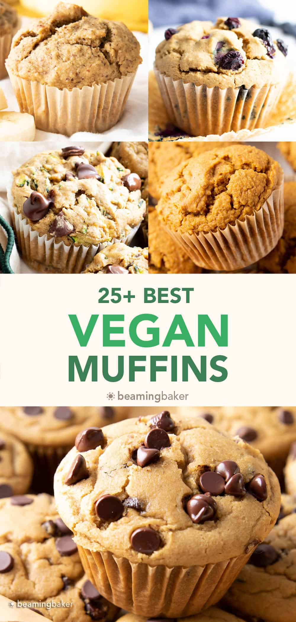 25+ Absolute Best Vegan Muffins: an irresistibly mouthwatering collection of the best vegan muffins! Including vegan banana muffins, vegan pumpkin muffins, vegan chocolate chip muffins, and more! #veganmuffins #veganbananamuffins #vegan #muffins   Recipes on BeamingBaker.com