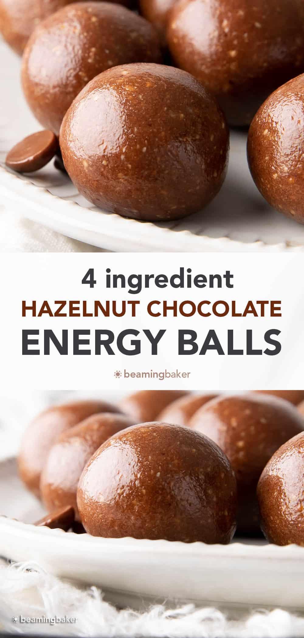 4 Ingredient Hazelnut Chocolate Energy Balls: this super easy hazelnut chocolate balls recipe tastes like Nutella! Healthy energy balls made with just 4 simple ingredients. #Hazelnut #Nutella #Chocolate #EnergyBalls | Recipe at BeamingBaker.com