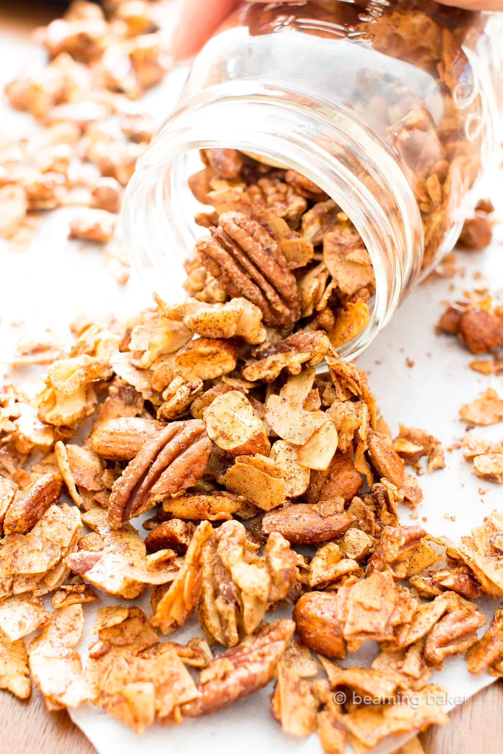 Cinnamon Grain Free Granola: my favorite grain free granola recipe—simple & easy to make granola that yields crispy, crunchy clusters and perfectly spiced, cozy cinnamon flavor. The best grain free granola! #GrainFree #Granola #HomemadeGranola | Recipe at BeamingBaker.com