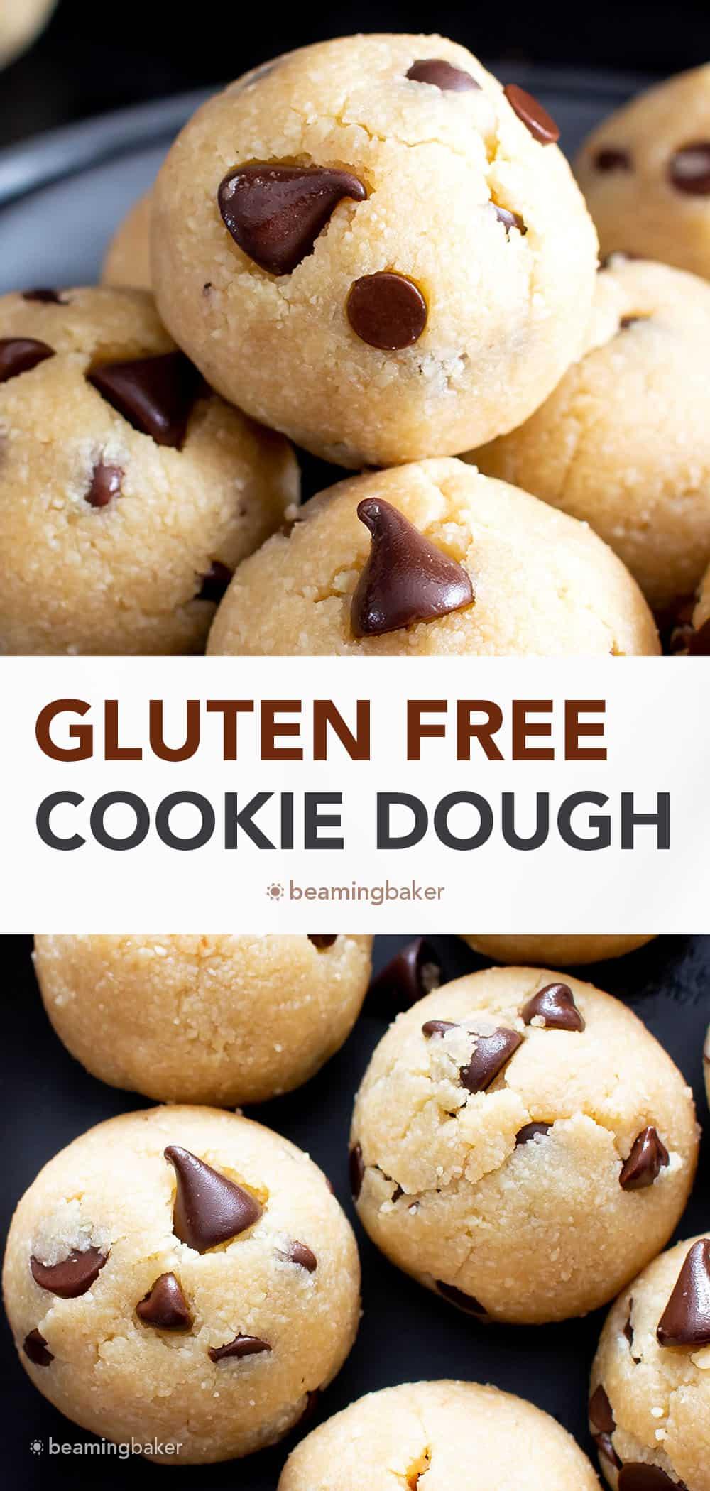 Gluten Free Edible Cookie Dough (GF): the easiest gluten free edible cookie dough—made with just a few simple GF ingredients. This gluten free cookie dough recipe yields rich 'n satisfying cookie dough! #GlutenFree #CookieDough #GF #EdibleCookieDough | Recipe at BeamingBaker.com