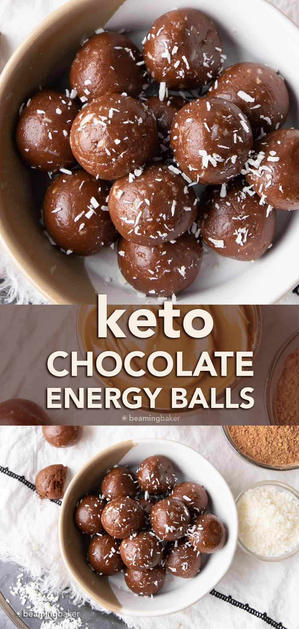 4 Ingredient Keto Chocolate Energy Balls: only 4 ingredients for delicious keto chocolate energy balls. The yummiest keto energy balls! #Keto #NoBake #LowCarb #Energy   Recipe at BeamingBaker.com