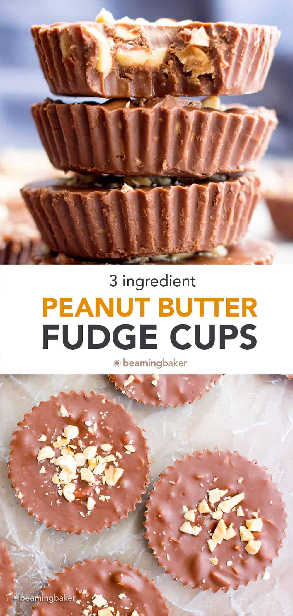 Chocolate Peanut Butter Fudge Cups: only 3 ingredients for super easy chocolate peanut butter fudge cups that are decadent, creamy and delicious! #Chocolate #PeanutButter #Fudge | Recipe at BeamingBaker.com