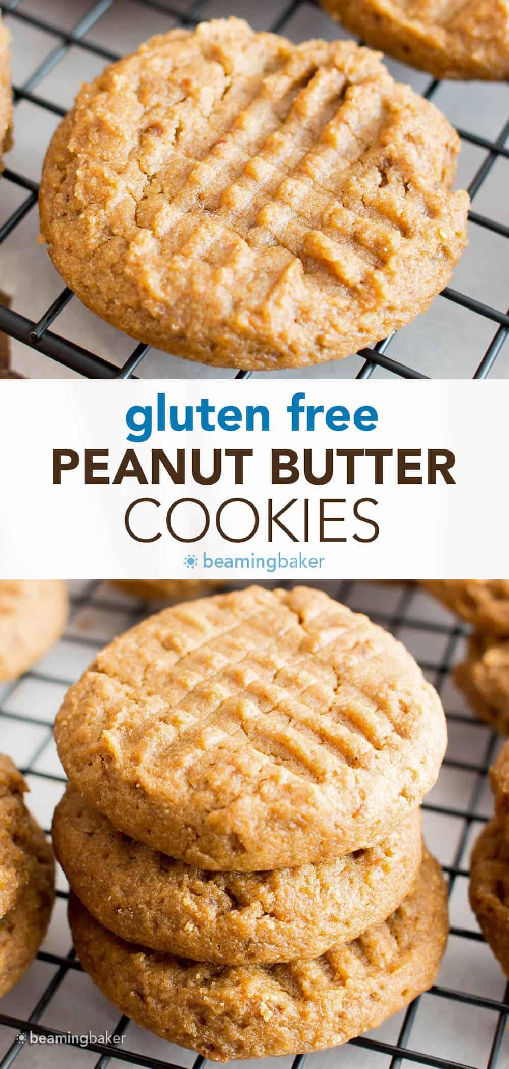 Gluten Free Peanut Butter Cookies: the best delicious and easy gluten free peanut butter cookies—bursting with sweet 'n rich peanut butter flavor! #GlutenFree #PeanutButter #Cookies   Recipe at BeamingBaker.com