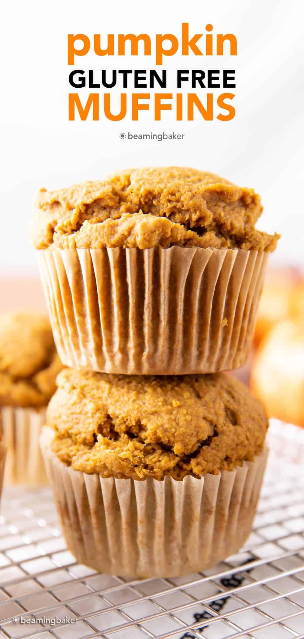 Gluten Free Pumpkin Muffins (GF): satisfying, cozy GF pumpkin muffins! The best gluten free pumpkin muffins recipe—lightly sweet & moist with deliciously spiced pumpkin flavor! #GlutenFree #GF #Pumpkin #Muffins | Recipe at BeamingBaker.com