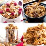 BEST Homemade Granola Recipes: check out the tastiest healthy granola recipes made with simple ingredients. From chocolate to low calorie, discover the best homemade granola recipes here! #Homemade #Granola #Healthy #Recipe | Recipes at BeamingBaker.com