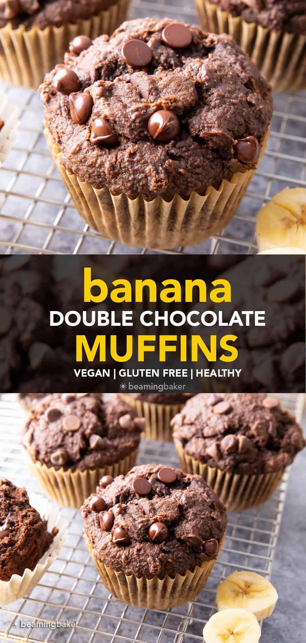 Healthy Banana Chocolate Chocolate Chip Muffins: tender & moist rich chocolate banana muffins. The best healthy chocolate banana muffins—fluffy & fudgy, deep chocolate brownie flavor. SO GOOD! #Healthy #Chocolate #Banana #Muffins   Recipe at BeamingBaker.com