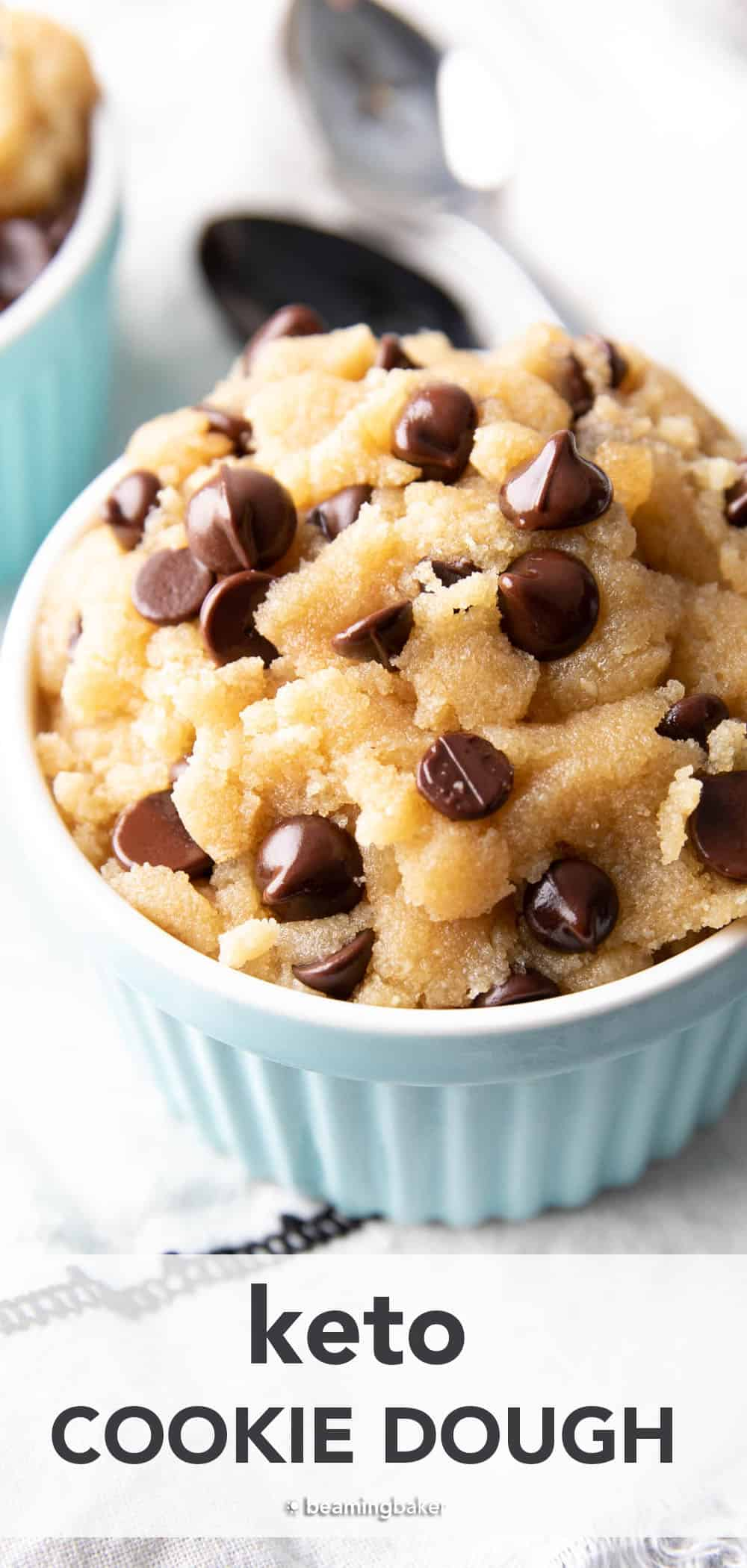 Keto Cookie Dough Recipe: indulgently sweet 'n satisfying keto cookie dough that's deliciously low carb! Super easy to make & even easier to eat! #Keto #CookieDough #LowCarb | Recipe at BeamingBaker.com