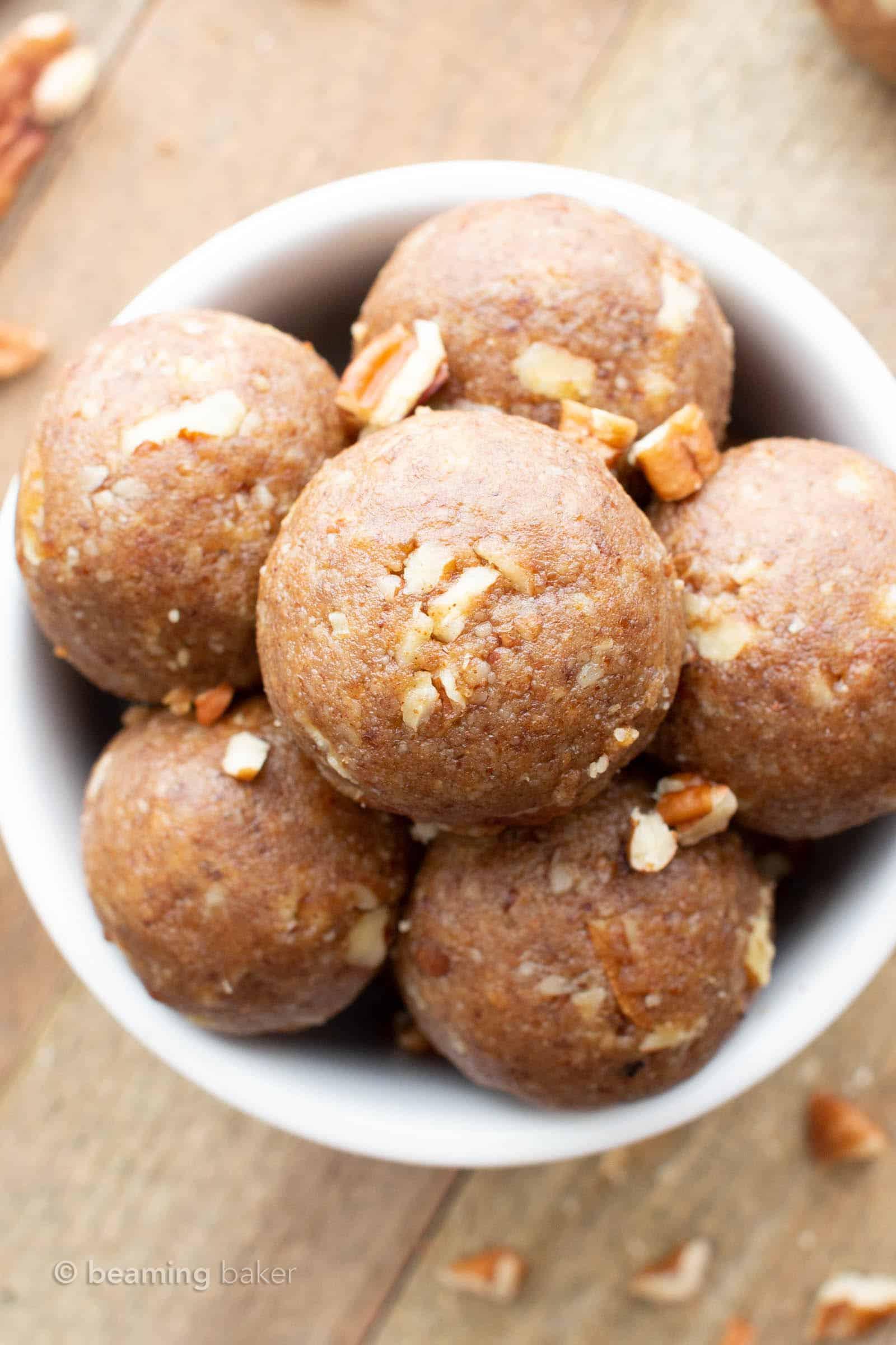 Vegan Energy Balls: just 3 ingredients for easy vegan energy balls that are soft, satisfying and delicious. Made with healthy, simple ingredients. #Vegan #EnergyBalls #NoBake #EnergyBites   Recipe at BeamingBaker.com