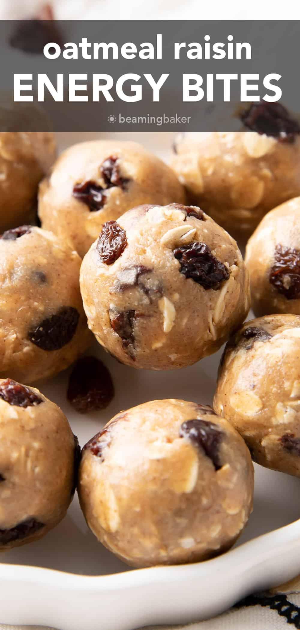 Oatmeal Raisin Energy Bites pin image